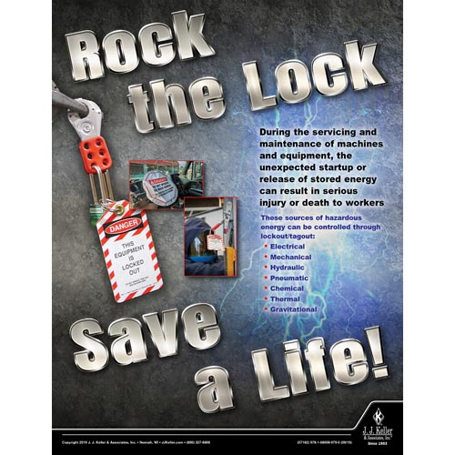 Rock The Lock Save A Life - Workplace Safety Training Poster (015625)