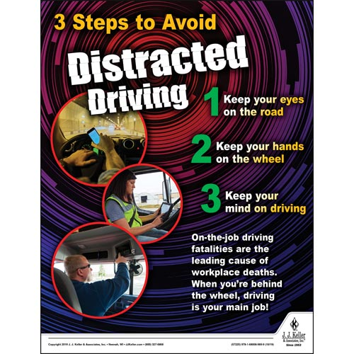 Three Steps to Avoid Distracted Driving - Workplace Safety Training Poster (015635)