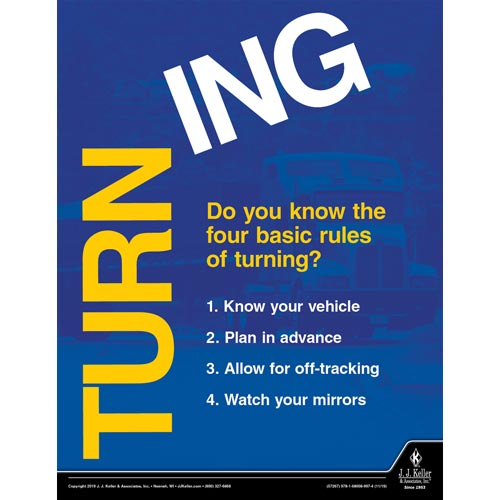 Do You Know the Four Basic Rules of Turning - Driver Awareness Safety Poster (015641)