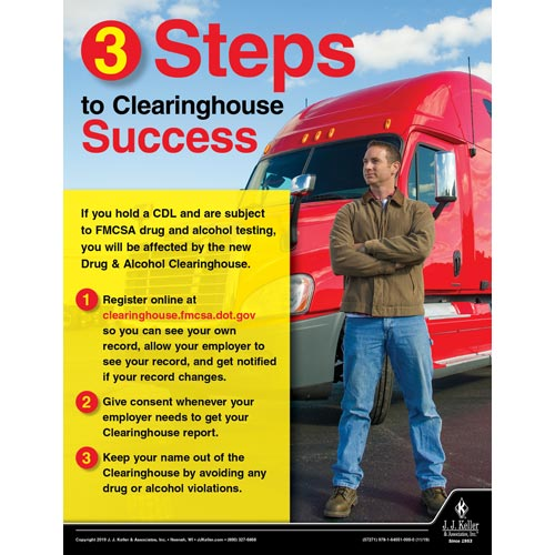 3 Steps to Clearinghouse Success - Motor Carrier Safety Poster (015646)
