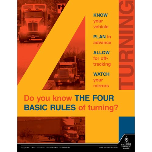 Do You Know The Four Basic Rules of Turning - Transportation Safety Poster (015649)