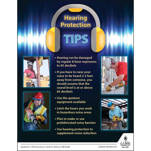 Hearing Protection Tips - Construction Safety Poster (015653)