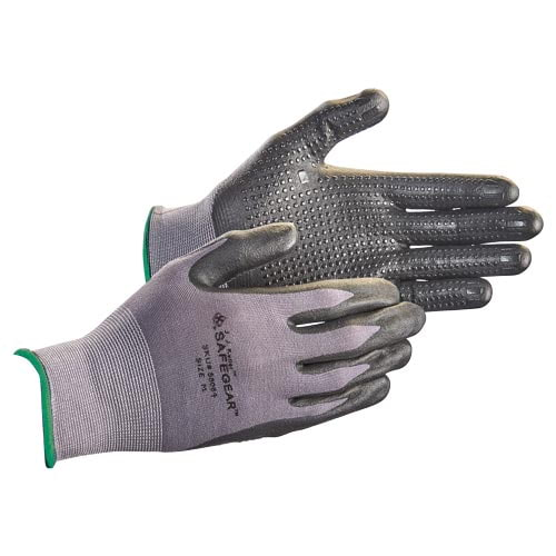J. J. Keller™ SAFEGEAR™ Flat Dip Nitrile Foam Grip-Dot Palm Nylon Knit Gloves (015104)