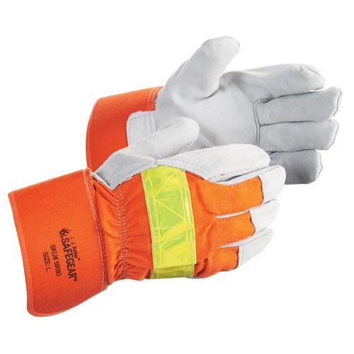 J. J. Keller™ SAFEGEAR™ Cowhide Split Leather Hi-Vis Work Glove (015106)