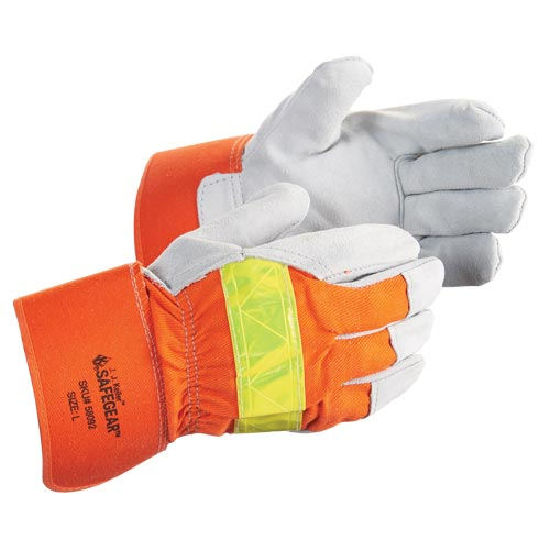 J. J. Keller™ SAFEGEAR™ Cowhide Split Leather Hi-Vis Insulated-Lining Work Gloves (015107)