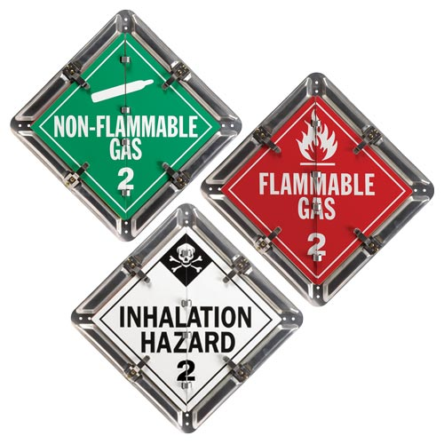 Aluminum Flip Placard - 3 Legend, Worded, Class 2, Division 2.1, 2.2, 2.3 (015129)