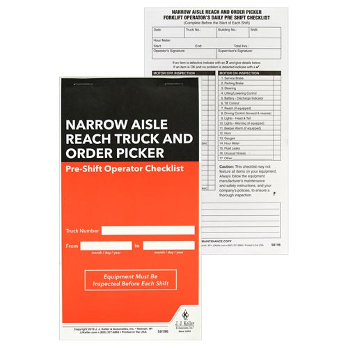 Narrow Aisle Reach Truck and Order Picker Pre-Shift Inspection Checklist (015167)