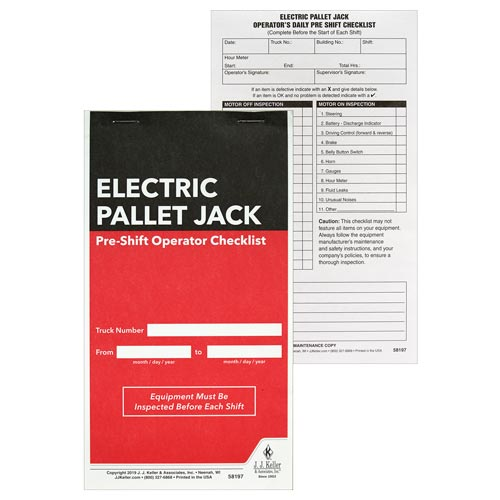 Electric Pallet Jack Pre-Shift Inspection Checklist (015168)