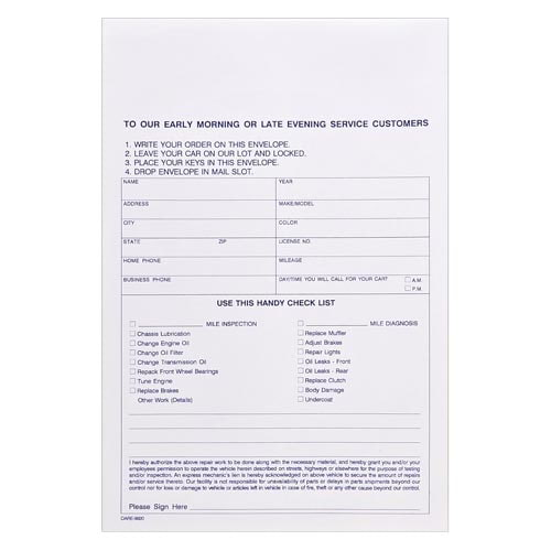 Overnight Auto Repair Envelope – Stock (015408)