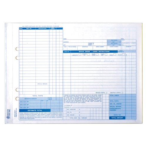 Auto Repair Order, Carbonless, Snap-Out Format – Stock (015402)