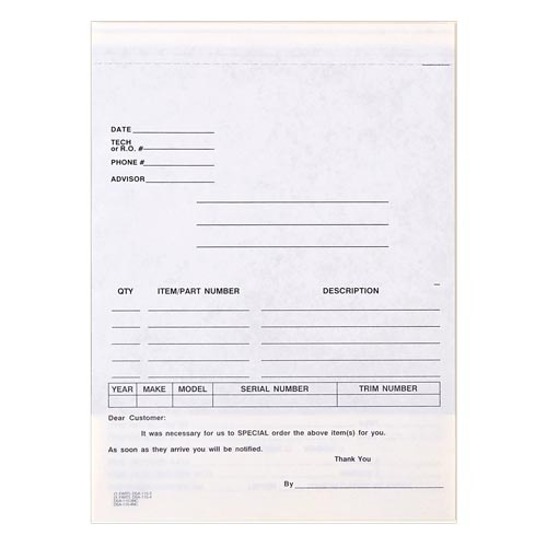 Automotive Special Parts Order Form, Snap-Out Format – Stock (015405)