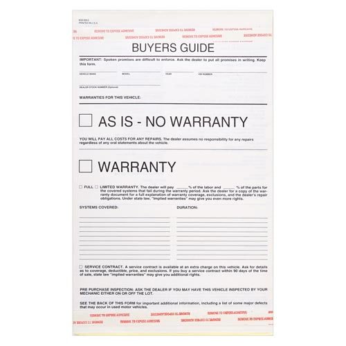 Buyers Guide Warranty Form, Carbonless - Snap-Out Format – Stock (015415)