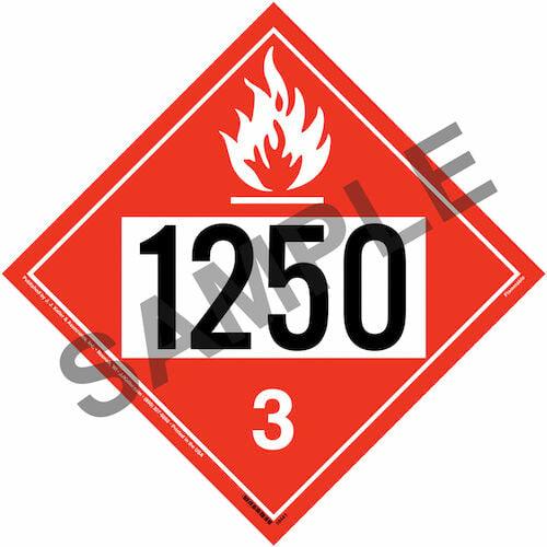 1250 Placard - Class 3 Flammable Liquid (015475)