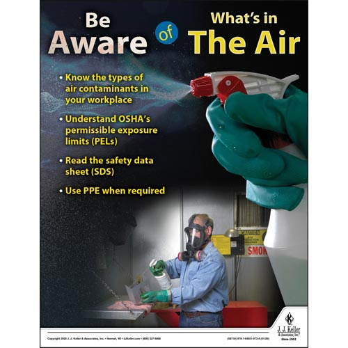 Be Aware of What's In The Air - Workplace Safety Training Poster (015683)
