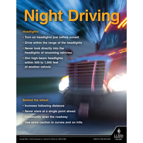 Night Driving- Driver Awareness Safety Poster (015694)