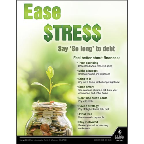 Ease Stress Say So Long to Debt - Health & Wellness Awareness Poster (015699)