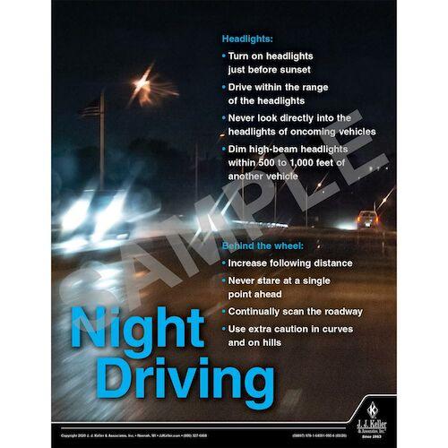 Night Driving - Transportation Safety Poster (015701)