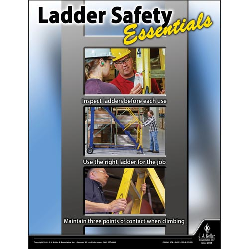 Ladder Safety Essentials - Workplace Safety Training Poster (015702)