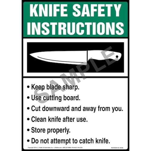 Knife Safety Instructions Poster - ANSI (015737)