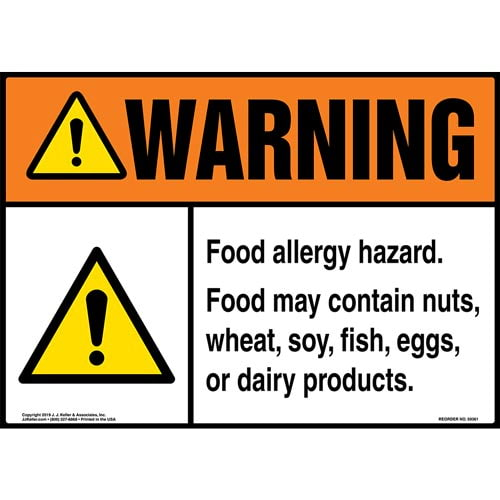 Warning: Food Allergy Hazard Poster - ANSI (015740)