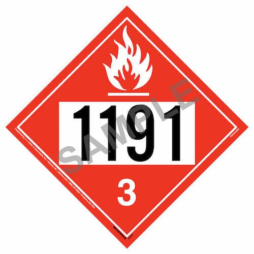 1191 Placard - Class 3 Flammable Liquid (015762)