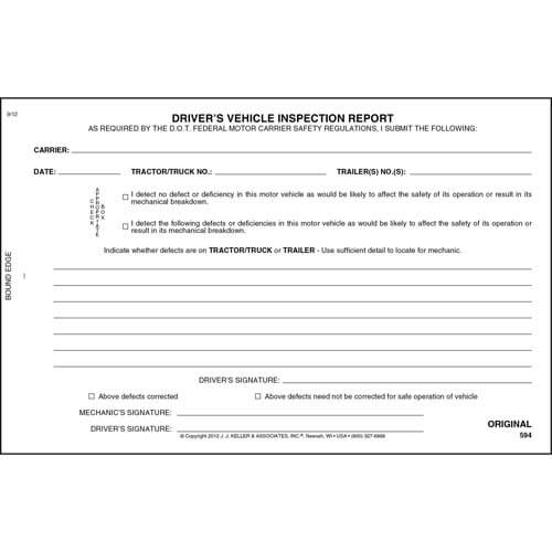 Simplified Driver's Vehicle Inspection Report, 2-Ply, w/Carbon - Stock (00040)