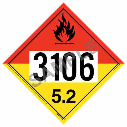 3106 Placard - Division 5.2 Organic Peroxide (015764)