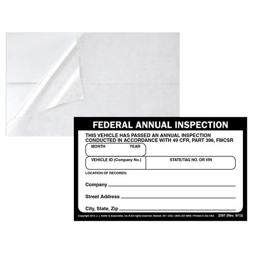 Record of Annual Inspection Decal & Clear Decal Overlay (015769)