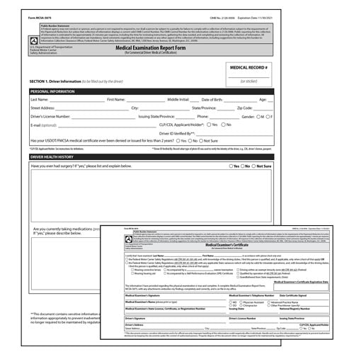 Medical Examination Certificate & Report Combo Pack (015800)