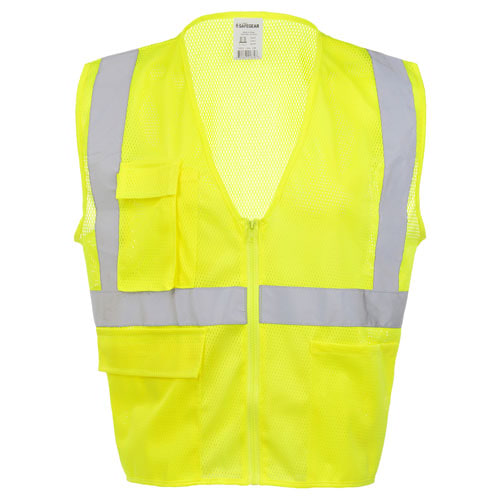 J. J. Keller™ SAFEGEAR™ Safety Vest Type R Class 2 - Zipper Closure with Vertical Reflective Tape (015922)