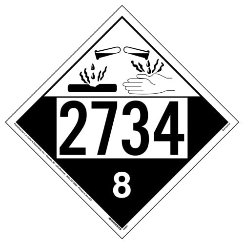 2734 Placard - Class 8 Corrosive (016004)