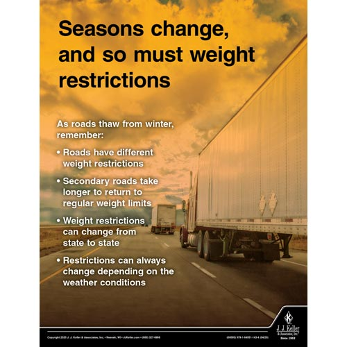 Seasons Change, and So Must Weight Restrictions - Motor Carrier Safety Poster (016057)