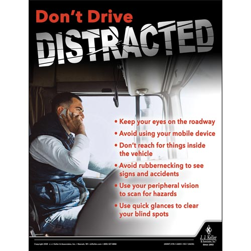 Don't Drive Distracted - Construction Safety Poster (016058)