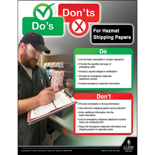 Dos and Dont's for Hazmat Shipping Papers (016060)