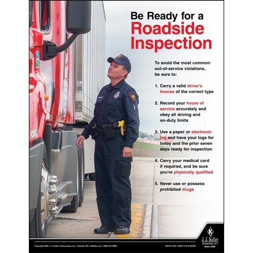 Be Ready for a Roadside Inspection - Transport Safety Risk Poster (016062)