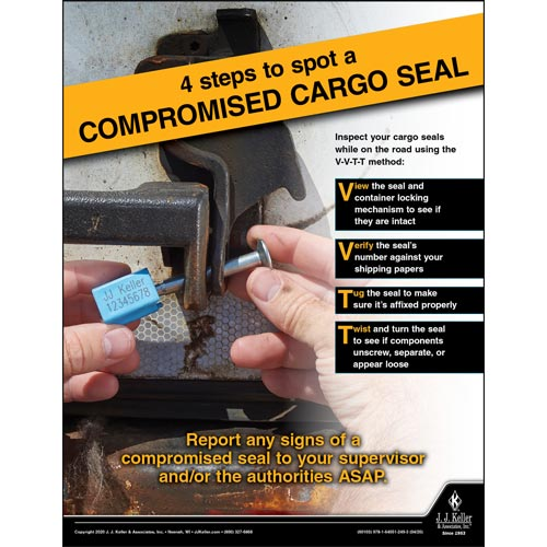 4 Steps to Spot a Compromised Cargo Seal -Transport Safety Risk Poster (016064)