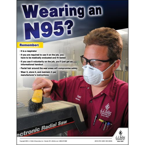 Wearing an N95 - Workplace Safety Training Poster (016072)