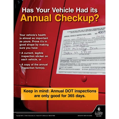 Has Your Vehicle Had Its Annual Checkup - Motor Carrier Safety Poster (016073)