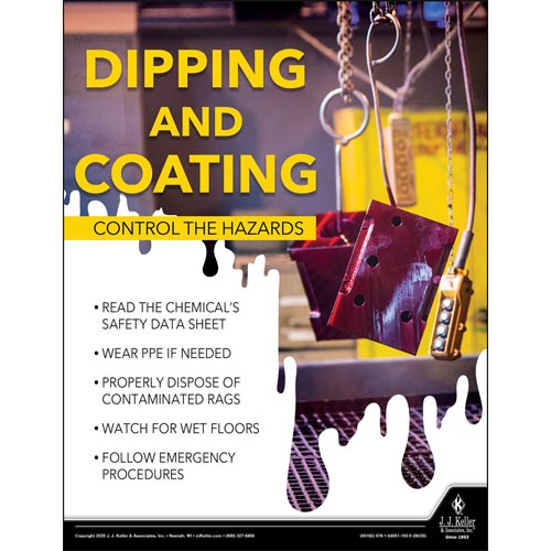 Dipping and Coating Control the Hazards - Workplace Safety Training Poster (016088)