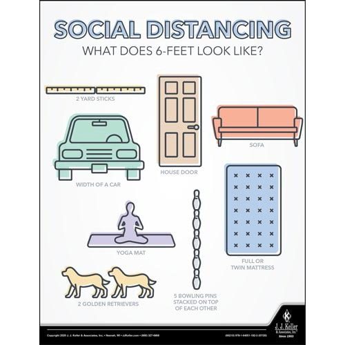Social Distancing What Does 6-Feet Look Like - Workplace Safety Training Poster (016094)