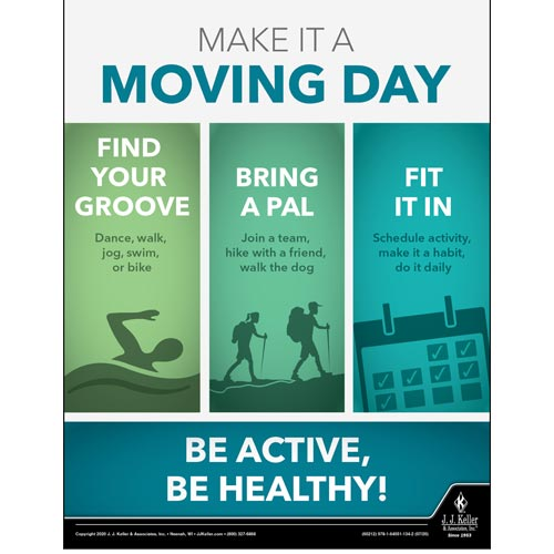 Make It a Moving Day Be Active, Be Healthy - Health & Wellness Awareness Poster (016096)