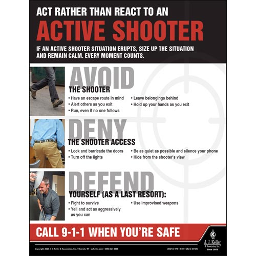 Act Rather Than React To An Active Shooter - Transport Safety Risk Poster (016097)