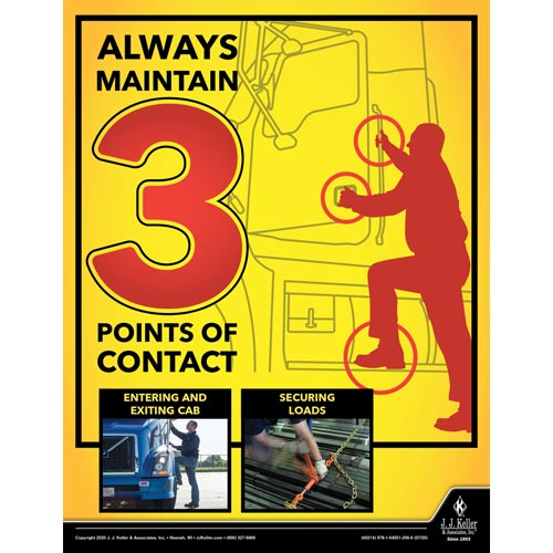 Always Maintain 3 Points of Contact - Transportation Safety Poster (016098)