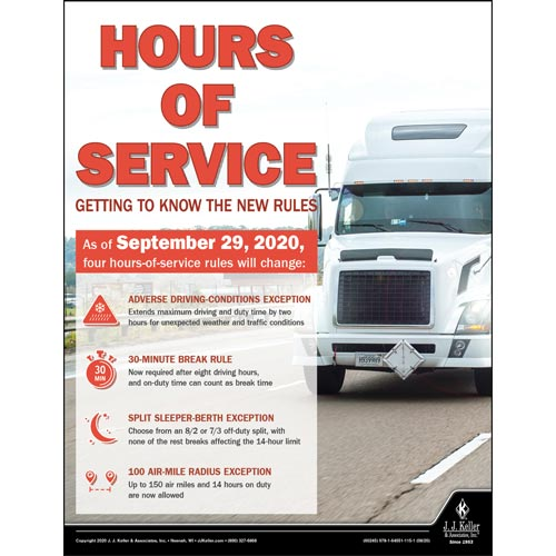 Hours of Service Getting to Know the New Rules - Driver Awareness Safety Poster (017001)