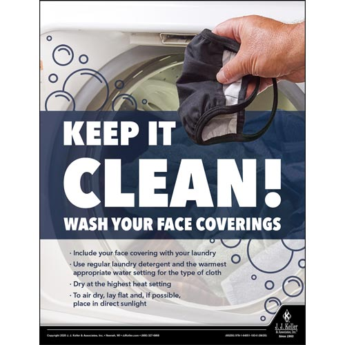 Keep It Clean Wash Your Face Coverings - Workplace Safety Training Poster (017005)