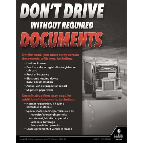 Don't Drive Without Required Documents - Motor Carrier Safety Poster (017012)