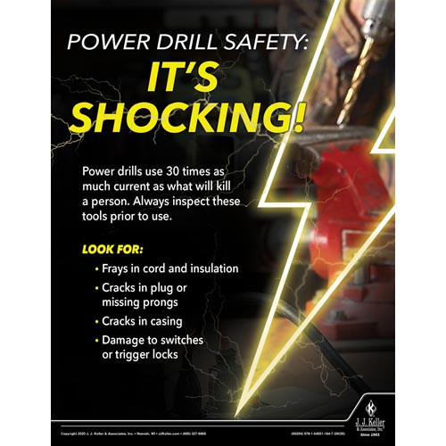 Power Drill Safety It's Shocking - Workplace Safety Training Poster (017016)