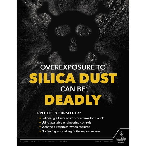 Overexposure To Silica Dust Can Be Deadly - Workplace Safety Training Poster (017021)