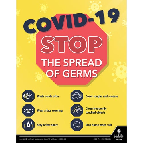 COVID-19 Stop The Spread of Germs - Health & Wellness Awareness Poster (017029)