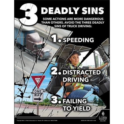 Three Deadly Sins of Truck Driving - Motor Carrier Safety Poster (017038)